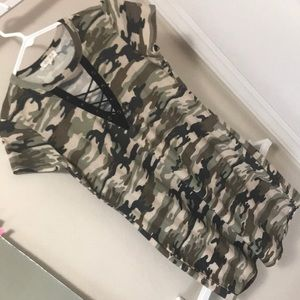 Camo laced up casual dress